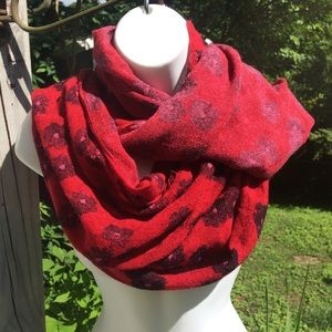 Urban Outfitters red floral infinity circle scarf